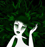 Abstract green lady. Black background and abstract white green-haired womans head Stock Photography
