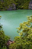 Abstract of a green lagoon and water  people Royalty Free Stock Photography