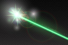 Abstract green laser beam. Magic neon light lines  on checkered background. Vector illustration Royalty Free Stock Image