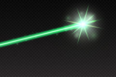 Abstract green laser beam. Magic neon light lines isolated on checkered background. Vector illustration.  Stock Photos