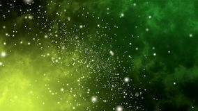 Abstract green and lemon yellow background of moving particles, looped animation