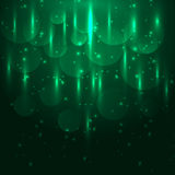 Abstract green light and bokeh glowing background. Stock vector Royalty Free Stock Photos