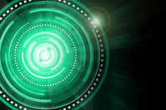 Abstract green lighting cog time-machine flare background. Royalty Free Stock Photo