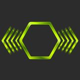 Abstract green metal hexagon and arrows shape Stock Photography