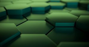 Abstract Metallic Hexagons Close Up With Reflection. 3D Renderin. Abstract Green Metallic Hexagons Close Up With Colored Reflection. 3D Rendering Stock Images