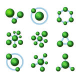 Abstract Green Molecules Icon Set on White Background. Vector Stock Photos