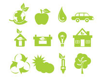 Abstract green multiple eco icons. Vector illustration Royalty Free Stock Photography