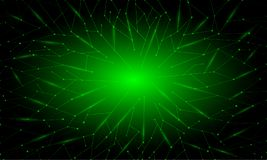 Abstract green neon polygonal background. With triangles, lines and dots for banner, site, lending and social network covers Royalty Free Illustration