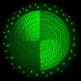 Abstract green neon round glow light effect. Stock Image