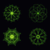 Abstract green neon shape and fractal collection in vector stock illustration