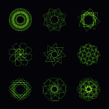 Abstract green neon shape and fractal collection in vector royalty free illustration