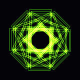 Abstract green neon shape, futuristic wavy fractal of star Stock Photography