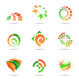Abstract green and orange Icon Set 19. Abstract green and orange Icon Set isolated on a white background Stock Images