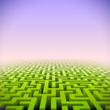 Abstract green perspective labyrinth Royalty Free Stock Photo