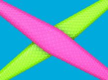 Abstract green and pink shapes with cubic texture intersecting - vibrant colors vector illustration