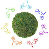 Abstract green planet with bicycles on a white background Stock Photos