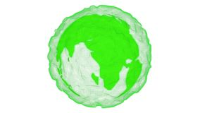 Abstract green planet with non form cover and white background motion video.Eco world concept vector illustration