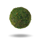 Abstract green planet with shadow on a white background Royalty Free Stock Photos