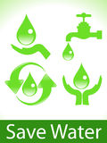 Abstract green save water icons Stock Photo