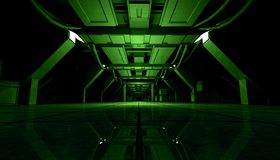 Abstract Green Sci Fi Futuristic Interior Design Corridor.3D Rendering. 3D rendering of abstract dark green sci fi futuristic space station or ship interior Stock Photo