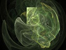 Abstract green shape. Abstract green fractal ilustration against black background royalty free illustration