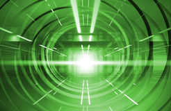 Abstract green shining tunnel interior. With neon lights Stock Photo