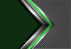 Abstract green silver arrow with blank space on gray circle mesh design modern futuristic background vector. Illustration Royalty Free Stock Photography
