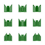 Abstract green simple building logo icons set Stock Photography