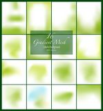 16 abstract green smooth blurred gradient mesh vector backgrounds for design. Vector illustration Royalty Free Stock Image
