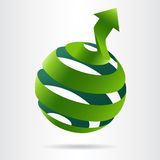Abstract green sphere icon. With arrow vector. Ecology concept Vector Illustration