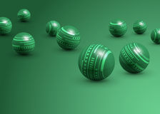 Abstract green spheres. Abstract background of decorative green spheres or balls with a lined pattern Royalty Free Stock Photos