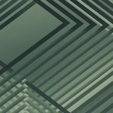 Abstract green square digital background. Abstract square digital background, green toned geometric pattern with intersected stripes. 3d render illustration Royalty Free Stock Image