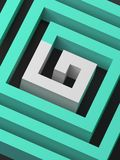 Abstract green square spiral 3d. Abstract green square spiral with white section in shape of G letter, 3d render illustration stock illustration