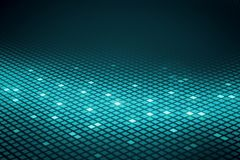 Abstract green squares background. Abstract technology background with green and glowing small squares at dark background. 3D render stock illustration