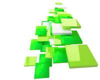 Abstract green squares on white Stock Photo