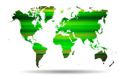 Abstract Green straight lines.And world map background. Stock Photos
