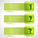 Abstract green stylish tags with numbers Stock Image
