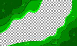 Abstract green summer background with paper waves stock illustration