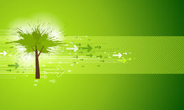 Abstract Green Tree Background. Grunge style Vector Illustration