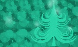 Abstract, green tree on a green background with blurred spots, i. Illustration, abstract, green tree on a green background with blurred spots stock illustration