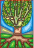 Abstract green tree and blue sky. With eyes Vector Illustration