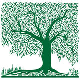 Abstract green tree in square shape. Royalty Free Stock Photos