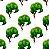 Abstract green trees seamless pattern Stock Images