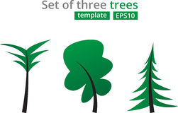 Abstract green trees set. Concept for design template with Christmas Tree, Palm tree and Oak Royalty Free Stock Images