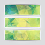 Abstract Green Triangular banners set Stock Photo