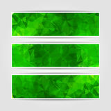 Abstract Green Triangular banners set. Abstract Green Triangular Polygonal banners set Stock Images