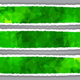 Abstract Green Triangular Polygonal torn paper banners Stock Photo