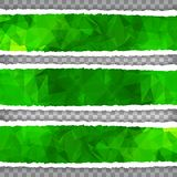 Abstract Green Triangular Polygonal torn paper banner set. Abstract Green Triangular Polygonal torn paper banners set Stock Images