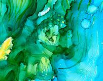Abstract green underwater splashes. Colorful background hand drawn with bright inks and watercolor paints. Color splashes and splatters create uneven artistic Stock Photography