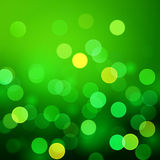 Abstract green vector background with realistic bokeh lights Stock Image